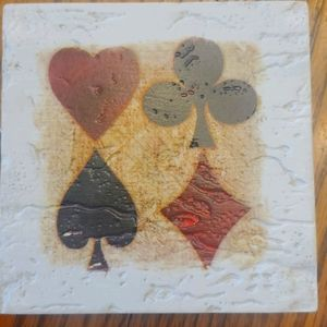 Card themed absorbent ceramic coasters